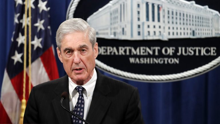 Special counsel Robert Mueller speaks at the Department of Justice on May 29 about the results of his Russia investigation. (Carolyn Kaster/AP)