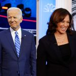 Former Vice President Joe Biden and Sen. Kamala Harris, D-Calif. stand on the stage before the start of a Democratic primary debate, Thursday, June 27, 2019, in Miami.  (Alberto E. Tamargo/Sipa USA/Sipa via AP Images and Wilfredo Lee/AP Photo)