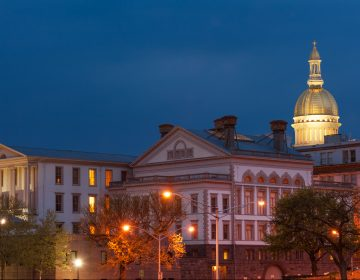 NJ state capitol complex at night in Trenton, New Jersey.  (Tashka/BigStock)