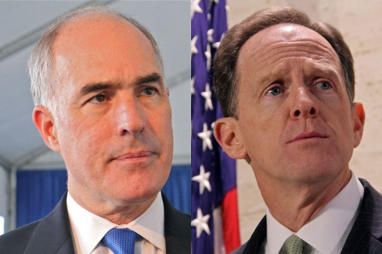 U.S. Senators Bob Casey and Pat Toomey of Pennsylvania. (Emma Lee/WHYY)
