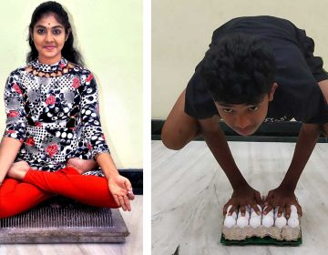 She nailed it! Uttrasree Ilango, 17, can hold lotus pose on a bed of 2,209 nails for an hour. Her younger brother Dheepak, 14, can hold crow pose without cracking an egg. (K.Ilango)