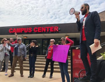 A union leader said the next step is a fight for healthcare benefits for Rutger's part-time lecturers. (Joe Hernandez/WHYY)