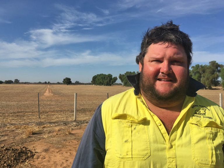 Nick James is a 32-year-old sheep farmer from Nathalia, Victoria. He says the drought has affected his mental health and he's chosen to talk about it in the hopes that others will get the help they need, as he has. (Ashley Ahearn/for WHYY)