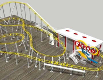 A rendering of the Runaway Tram roller coaster on Surfside Pier in Wildwood. (Courtesy of Morey's Piers)