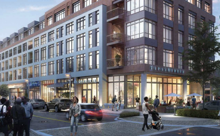 An artist's rendering of the redevelopment proposed for South Philadelphia Shopping Center at 23rd Street and Oregon Avenue. (Courtesy of Cedar Realty Trust)