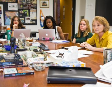 The Lawrenceville School teacher Leah Domb helps students discuss a lecture on race and biology by Penn professor Sarah Tishkoff. (Kimberly Paynter/WHYY)