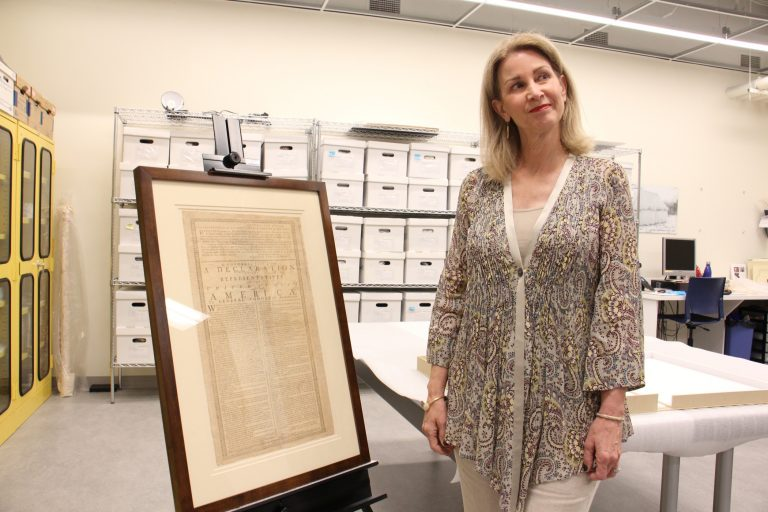 Holly Kinyon, a descendent of John Witherspoon, recently purchased a first printing of the Declaration of Independence and has loaned it to the Museum of the American Revolution. (Emma Lee/WHYY)