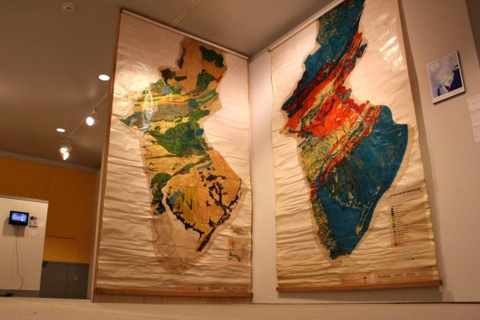 Massive maps, created by Ian McHarg's students at Penn, categorize the underlying geoligic formations in order to determine the best course for development. (Emma Lee/WHYY)
