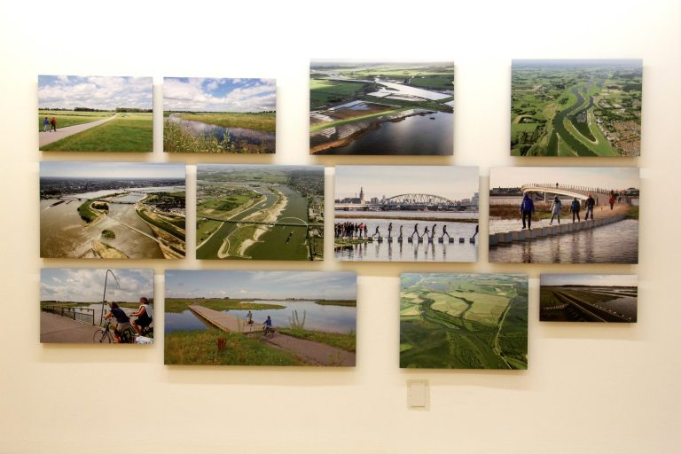 A flood abatement project in the Netherlands also aims to create a more attractive river landscape. It is one of 25 projects featured in the University of Pennsylvania's exhibit in tribute to landscape architect Ian McHarg. (Emma Lee/WHYY)