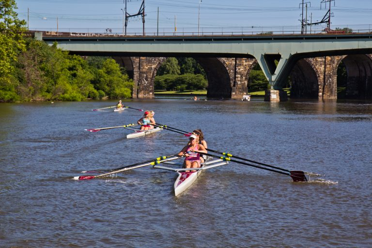 Girls 19 years old and under participate in the Mid-Atlantic U.S. Olympic Development Program program on the Schuylkill in Philadelphia. (Kimberly Paynter/WHYY)