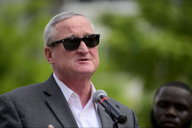 Mayor Jim Kenney speaks at a Stand 4 Peace anti-gun violence rally on July 2, 2019. (Bastiaan Slabbers for WHYY)