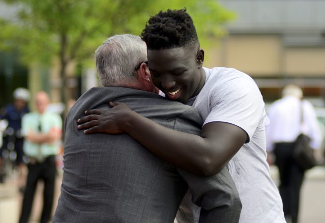 Mayor Jim Kenney and Cheick Diawara at a Stand 4 Peace anti gun-violence rally in Love park. (Bastiaan Slabbers for WHYY)