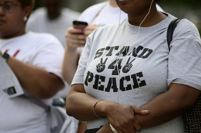 The Stand 4 Peace anti gun-violence rally in Love park, on Tuesday. (Bastiaan Slabbers for WHYY)
