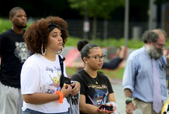 Alexandria Herrera attends Stand 4 Peace anti gun-violence rally in Love park. (Bastiaan Slabbers for WHYY)