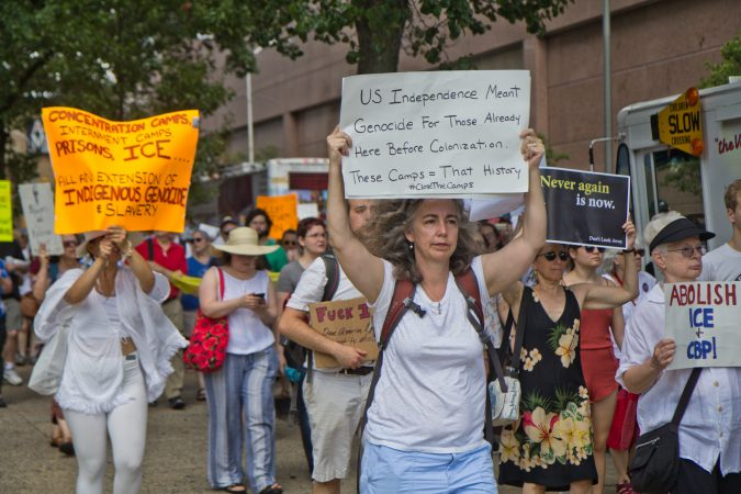 Jewish activist groups demanded immigrants at the border be removed from detention centers on Independence Day in Philadelphia. (Kimberly Paynter/WHYY)