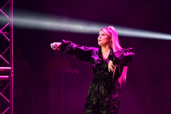 Meghan Trainor performs at the Welcome America festival on the parkway. (Bastiaan Slabbers for WHYY)