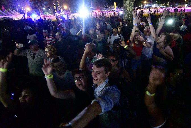 The Parkway crowd responding to Meghan Trainor performing Dancing Queen by ABBA. (Bastiaan Slabbers for WHYY)
