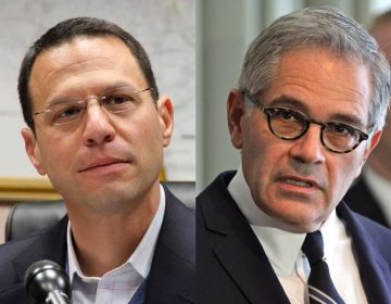 Pennsylvania Attorney General Josh Shapiro (left) and Philadelphia District Attorney Larry Krasner. (Emma Lee/WHYY)