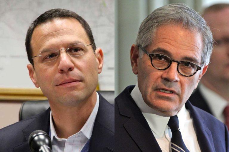 Pennsylvania Attorney General Josh Shapiro (left) and Philadelphia District Attorney Larry Krasner. (Emma Lee/WHYY)