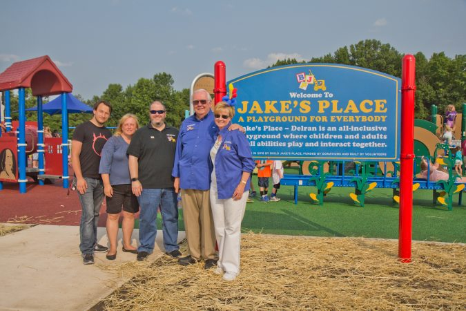 The Cummings and Nasto families are the founders of Jake's Place playgrounds. (Kimberly Paynter/WHYY)