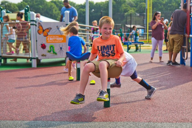 Children play together at the new Jake's Place in Delran, N.J. (Kimberly Paynter/WHYY)