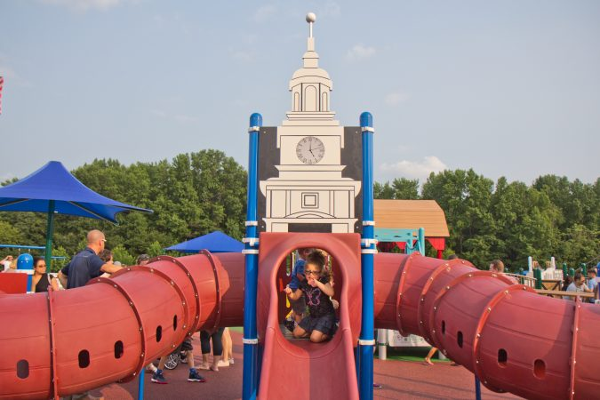 An Independence Hall slide at Jake's Place in Delran, N.J. (Kimberly Paynter/WHYY)