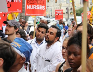 Drexel doctors join a protest outside Hahnemann Hospital on July 11, 2019. (Emma Lee/WHYY)