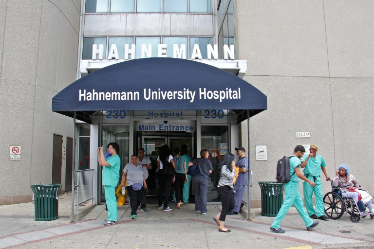 The entrance to Hahnemann University Hospital on North Broad Street in July, before the hospital was shuttered. (Emma Lee/WHYY)