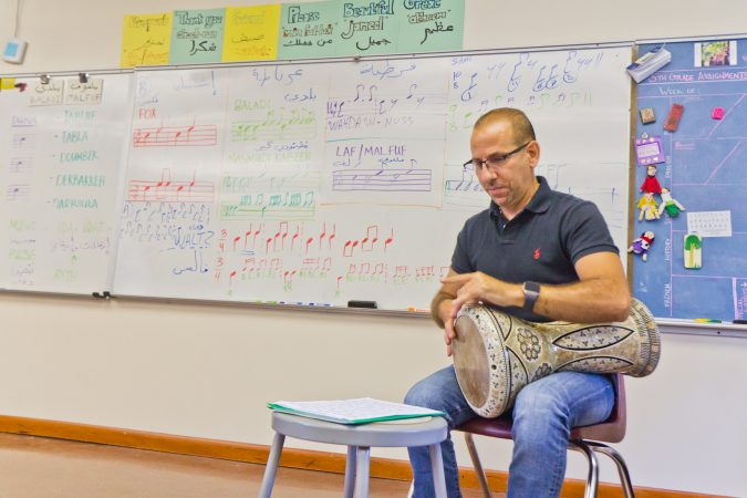 Hafez Kotain is the percussion director for Al-Bustan. (Kimberly Paynter/WHYY)