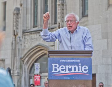 Democratic presidential candidate Bernie Sanders speaks at a rally to save Hahnemann Hospital in Philadelphia. He called for reform to the U.S. healthcare system. (Kimberly Paynter/WHYY)