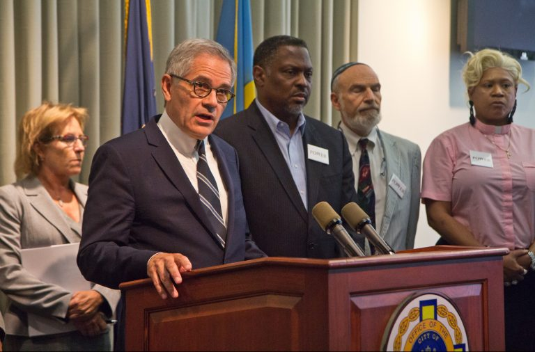 Philadelphia District Attorney Larry Krasner held a press conference with faith leaders arguing that the Pa. death penalty is unconstitutional. (Kimberly Paynter/WHYY)