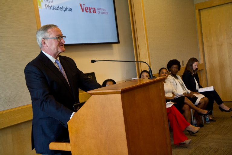 Philadelphia Mayor Jim Kenney voices support for the expansion of the SAFE Network to Philly, where it will offer legal representation for immigrants facing deportation. (Kimberly Paynter/WHYY)