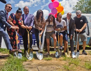 Ground was broken Wednesday on a model unit on a 700 square-foot, city-owned parcel of land at 2147 Orleans Street in Greater Kensington. (Kimberly Paynter/WHYY)