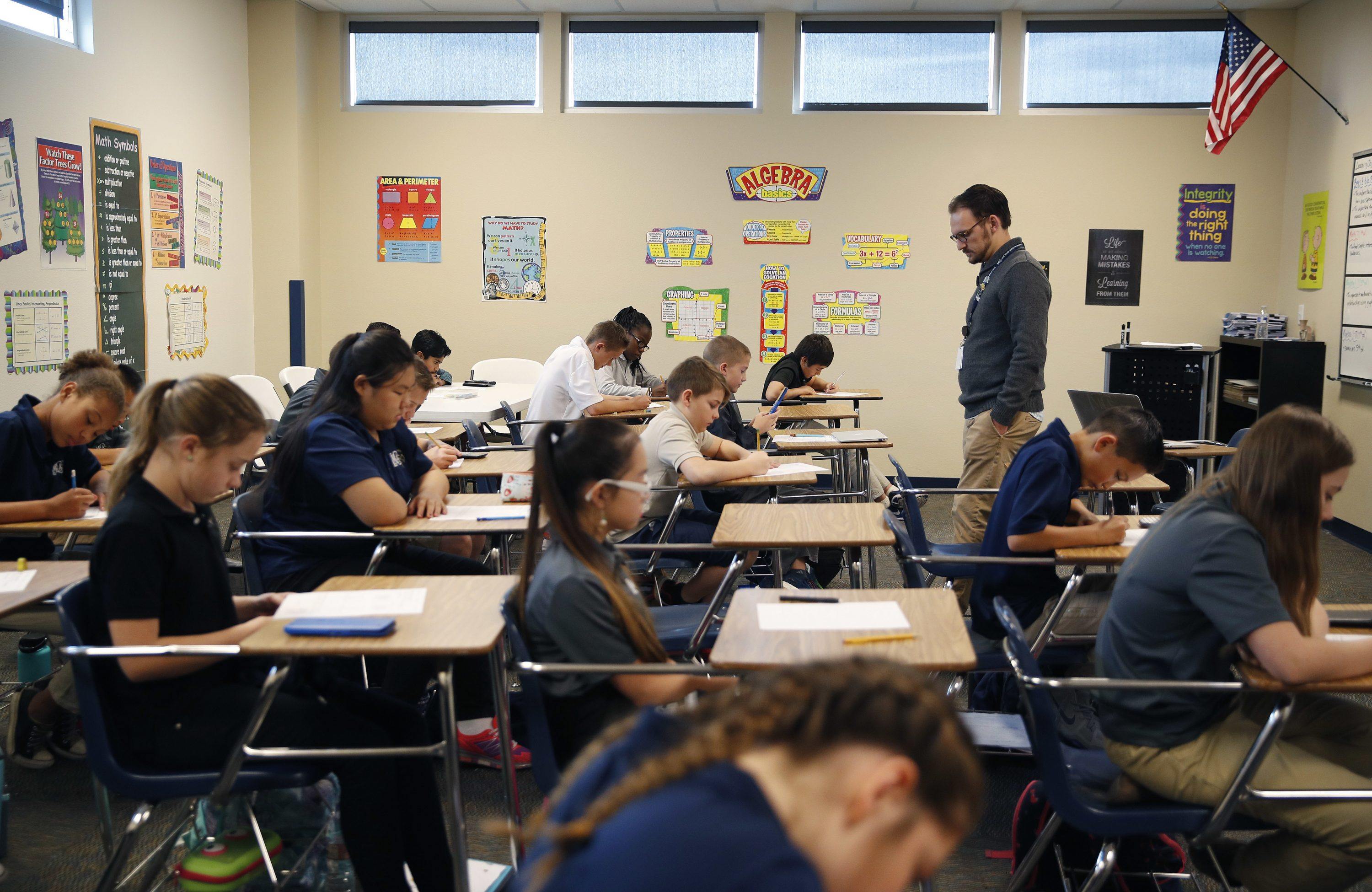The standardized tests scores of chronically absent students will no longer count against teachers, schools, and the state. (John Locher/AP Photo)