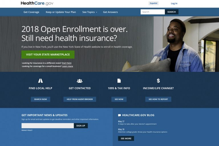 This May 21, 2018 image shows the main page of the healthcare.gov website. (HealthCare.gov via AP)