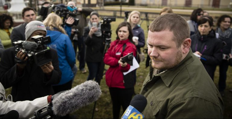 In this file photo, Tamaqua Area School Board member Nicholas Boyle speaks in support of arming teachers and other school employees, to members of the media after a news conference in Tamaqua, Pa., Friday, Jan. 4, 2019. (Matt Rourke/AP Photo)