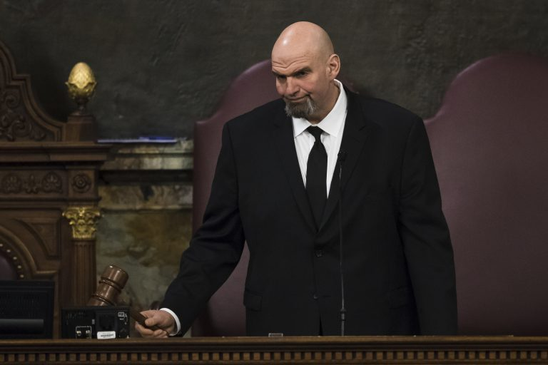 Lt. Gov. John Fetterman gavels in a joint session of the Pennsylvania House and Senate before Democratic Gov. Tom Wolf delivers his budget address for the 2019-20 fiscal year, Harrisburg, Pa., Tuesday, Feb. 5, 2019. (Matt Rourke/AP Photo)