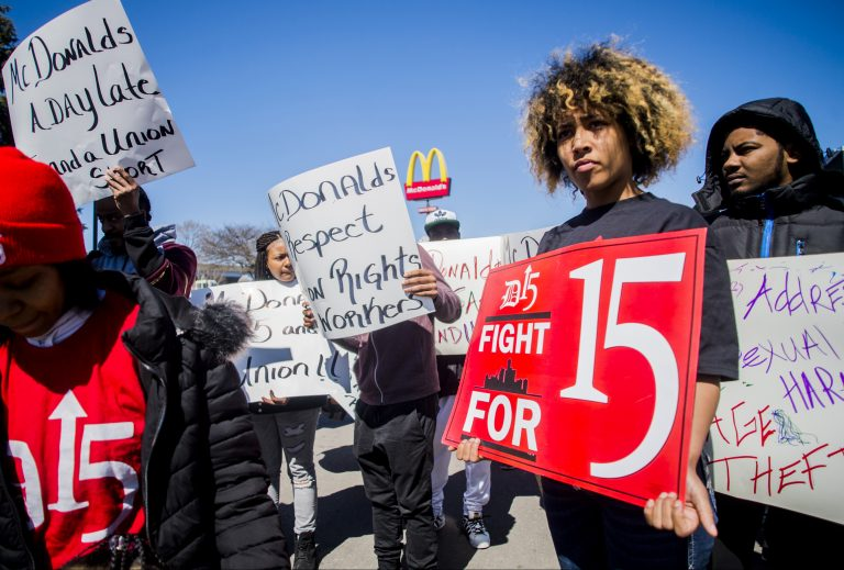 Rally for a $15 minimum wage a rally at McDonald's in the 1500 block of W. Stewart Avenue in Flint, Michigan. (Jake May/The Flint Journal via AP)