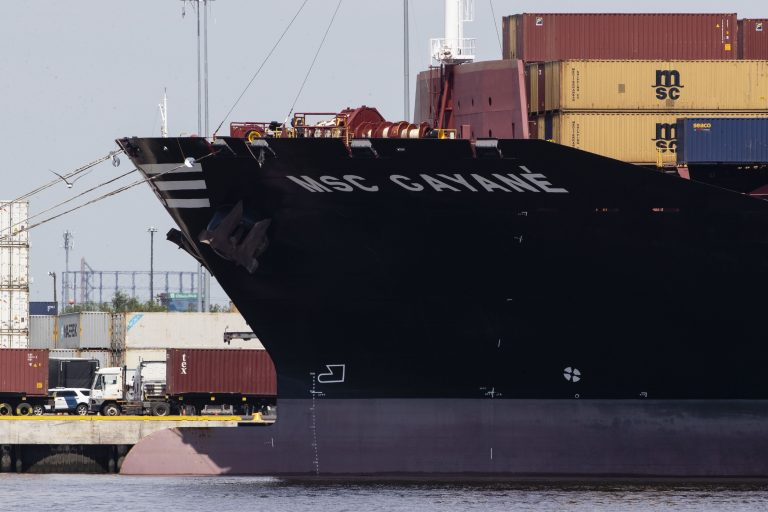 The MSC Gayane is moored at the Packer Marine Terminal in Philadelphia, Monday, June 24, 2019. Detention hearings are scheduled Monday in Philadelphia for six crew members of the Swiss-owned container ship following the seizure of more than 35,000 pounds, or more than 15,800 kilograms, of cocaine. (Matt Rourke/AP Photo)