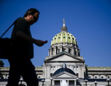 A pedestrian walks by the state Capitol in Harrisburg, Pa., Friday, June 28, 2019.  (AP Photo/Matt Rourke)