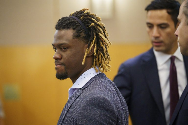 Philadelphia Phillies baseball player Odubel Herrera arrives at court for a hearing on a domestic violence case in Atlantic City, N.J., Wednesday, July 3, 2019. (Jessica Griffin/The Philadelphia Inquirer via AP, Pool)