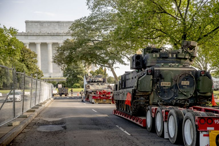 Two Bradley Fighting Vehicles are parked nearby the Lincoln Memorial for President Donald Trump's 'Salute to America' event honoring service branches on Independence Day, Tuesday, July 2, 2019, in Washington. (Andrew Harnik/AP Photo)
