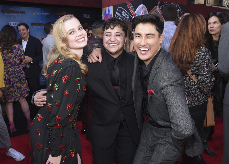 This June 26, 2019 photo released by Sony Pictures shows, from left, Angourie Rice, Zach Barack and Remy Hii at the world premiere of