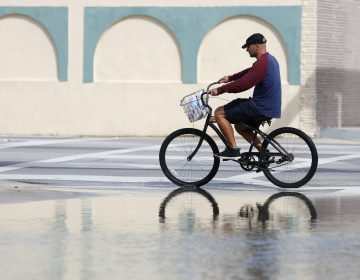 In this Oct. 9, 2018, file photo, a cyclist rides past an area flooded during a King Tide, an especially high tide, in Miami. Federal scientists, according to a report released Wednesday, July 10, 2019,  predict 40 places in the U.S. will experience higher than normal rates of so-called sunny day flooding this year due to rising sea levels and an abnormal El Nino weather system. (Wilfredo Lee/AP Photo, FIle)
