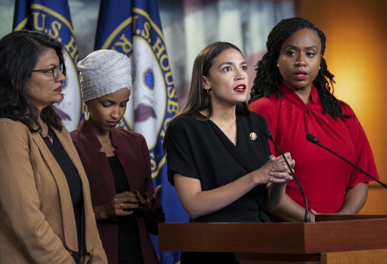 From left, Rep. Rashida Tlaib, D-Mich., Rep. Ilhan Omar, D-Minn., Rep. Alexandria Ocasio-Cortez, D-N.Y., and Rep. Ayanna Pressley, D-Mass., respond to remarks by President Donald Trump after his call for the four Democratic congresswomen to go back to their