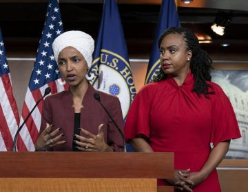 In this Monday, July 15, 2019, file photo, U.S. Rep. Ilhan Omar, D-Minn, (second from left), speaks, as U.S. Reps., (from left), Rashida Tlaib, D-Mich.,Ayanna Pressley, D-Mass., and Alexandria Ocasio-Cortez, D-N.Y., listen, during a news conference at the Capitol in Washington. (J. Scott Applewhite/AP Photo)