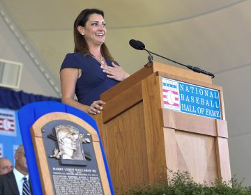 Brandy Halladay, widow of Roy Halladay, speaks as he is inducted posthumously into the National Baseball Hall of Fame during an induction ceremony at the Clark Sports Center on Sunday, July 21, 2019, in Cooperstown, N.Y. (Hans Pennink/AP Photo)