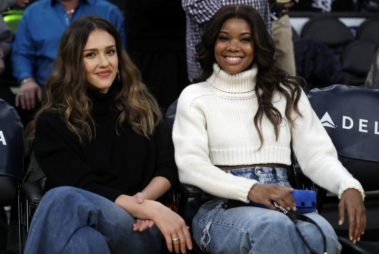 Gabrielle Union, right, and Jessica Alba star in