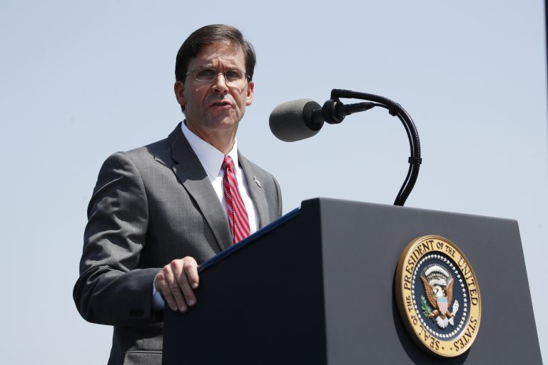 Secretary of Defense Mark Esper speaks during a full honors welcoming ceremony for him at the Pentagon, Thursday, July 25, 2019, in Washington. President Donald Trump attended the ceremony. (Alex Brandon/AP Photo)