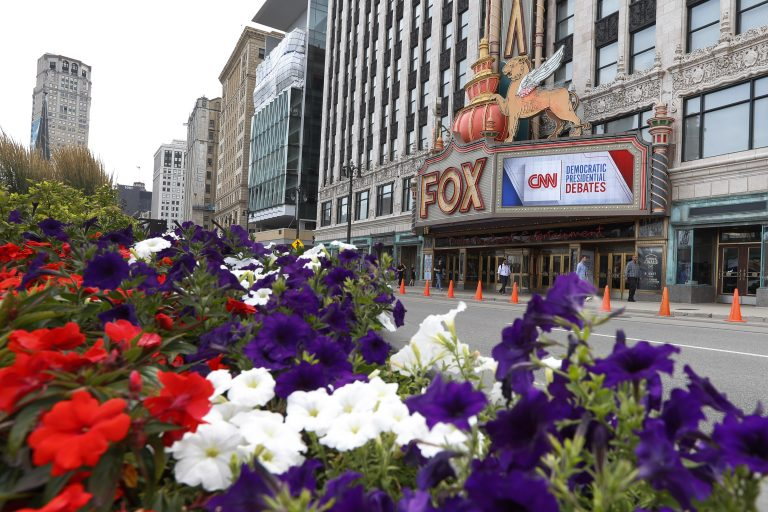 The Fox Theatre displays signs for the Democratic presidential debates in Detroit, Monday, July 29, 2019. The second scheduled debate will be hosted by CNN on July 30 and 31. (Paul Sancya/AP Photo)
